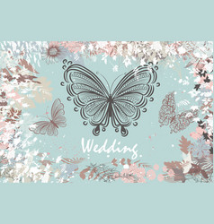 Background in pastel colors with butterflies vector