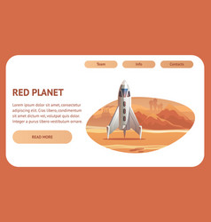 Banner spaceship surface red planet vector