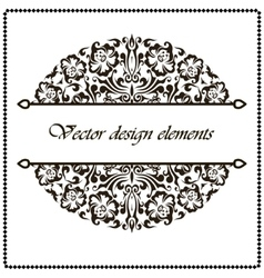 Black and white border frame with floral patterns vector