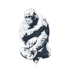 black and white engrave isolated monkey vector image
