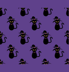 black cat witch seamless on purple background vector image