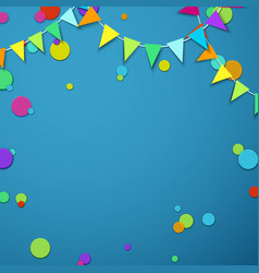 Blue festive background with colour flags and vector