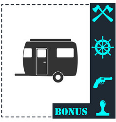 Camping trailer house icon flat vector