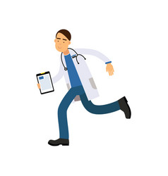 cartoon male doctor in white medical robe with vector image