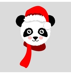 Cartoon panda wearing Santa hat vector