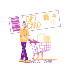 Cheerful shopaholic pushing trolley with purchases vector