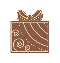 christmas gift shape gingerbread flat design icon vector image