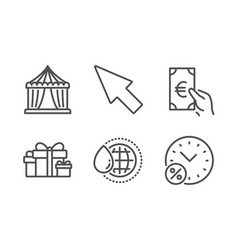 Circus tent finance and mouse cursor icons set vector
