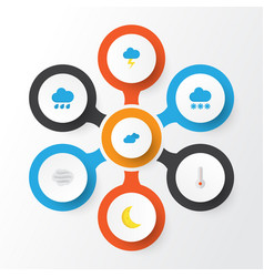 Climate flat icons set collection of snow moon vector