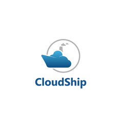 cloud ship logo vector image