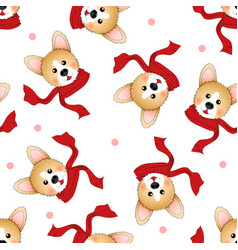 corgi with red scarf on white background vector image