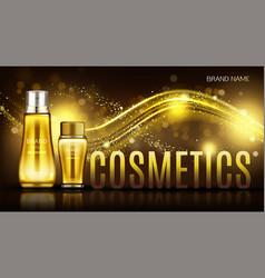 Cosmetics bottles mock up banner skin care cream vector