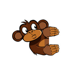 Curious monkey holding up an invisible frame vector
