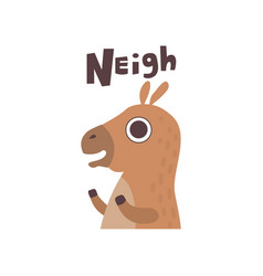 Cute cartoon horse farm animal neighing vector