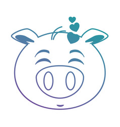 cute lovely pig emoji kawaii vector image
