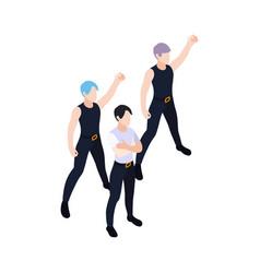 Dancing group isometric icon vector
