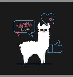 doodle black llama vector image