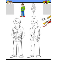 drawing and coloring worksheet with boy vector image