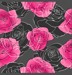 Elegant pink rose flower bouquets contour elements vector
