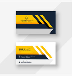 Elegant yellow geometric business card design vector