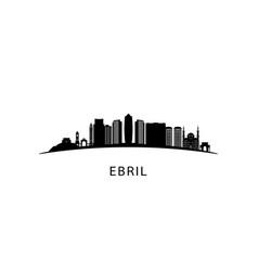 Erbil city skyline black cityscape isolated on vector