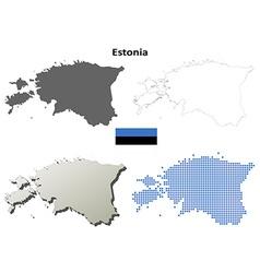 Estonia outline map set vector image