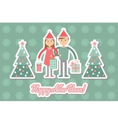 Family couple with Christmas shopping Greeting vector image
