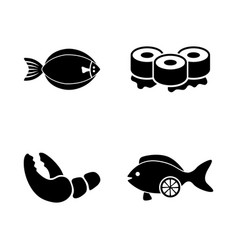 Fish restaurant seafood simple related icons vector