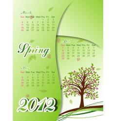 floral tree spring calendar 2012 vector image
