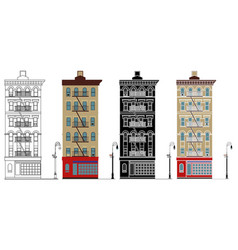 Friends building in front view vector