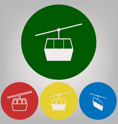 Funicular cable car sign 4 white styles vector