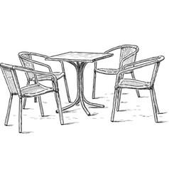 furniture in summer cafe vector image