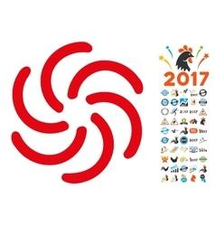 Galaxy icon with 2017 year bonus pictograms vector