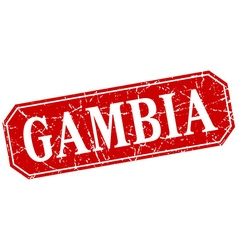 Gambia red square grunge retro style sign vector