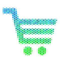 Halftone blue-green shopping cart icon vector