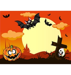halloween background with pumpkin in the grass vector image