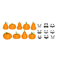 Halloween pumpkins and smiling scary ghost faces vector