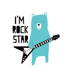 Hand drawing rock and roll elements and bear vector
