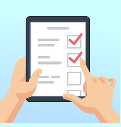 Hands holding tablet with online survey form vector