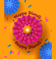 happy diwali festival card papercut flower candle vector image