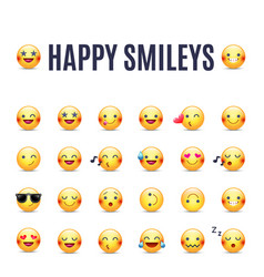 Happy smileys icon set emoticons pictograms vector