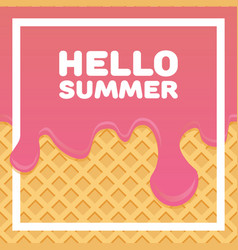 Hello summer letters in ice cream pattern cream vector