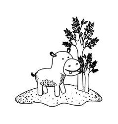 Hippopotamus cartoon next to the trees in black vector