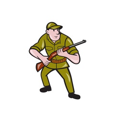 Hunter Carrying Rifle Cartoon vector