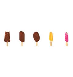 ice cream icecream in cone with chocolate vector image