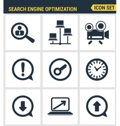Icons set premium quality of search engine vector image