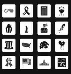 Independence day flag icons set squares vector