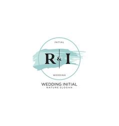 Initial ri letter beauty logo handwriting vector