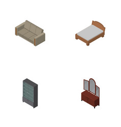 Isometric furnishing set of couch drawer vector