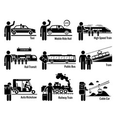 land public transportation vehicles and people vector image